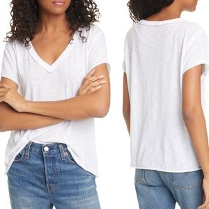 FREE PEOPLE Caylen Cotton Blend Tee White Size S